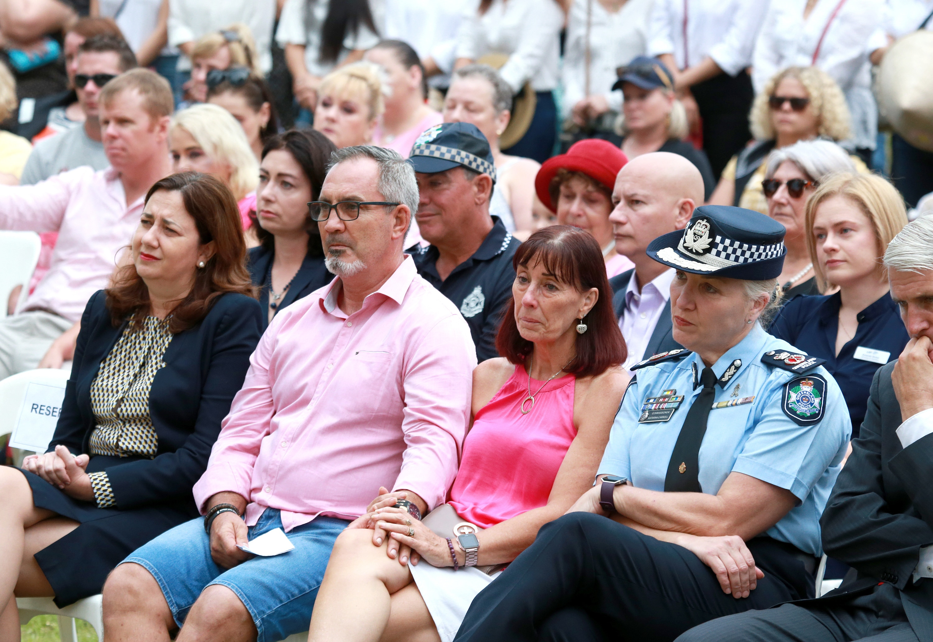 Hannah Clarks parents Lloyd and Suzanne Clark are flanked by Queensland Premier Annastasia Palaszczuk and Queensland Police Commissioner Katarina Carroll.