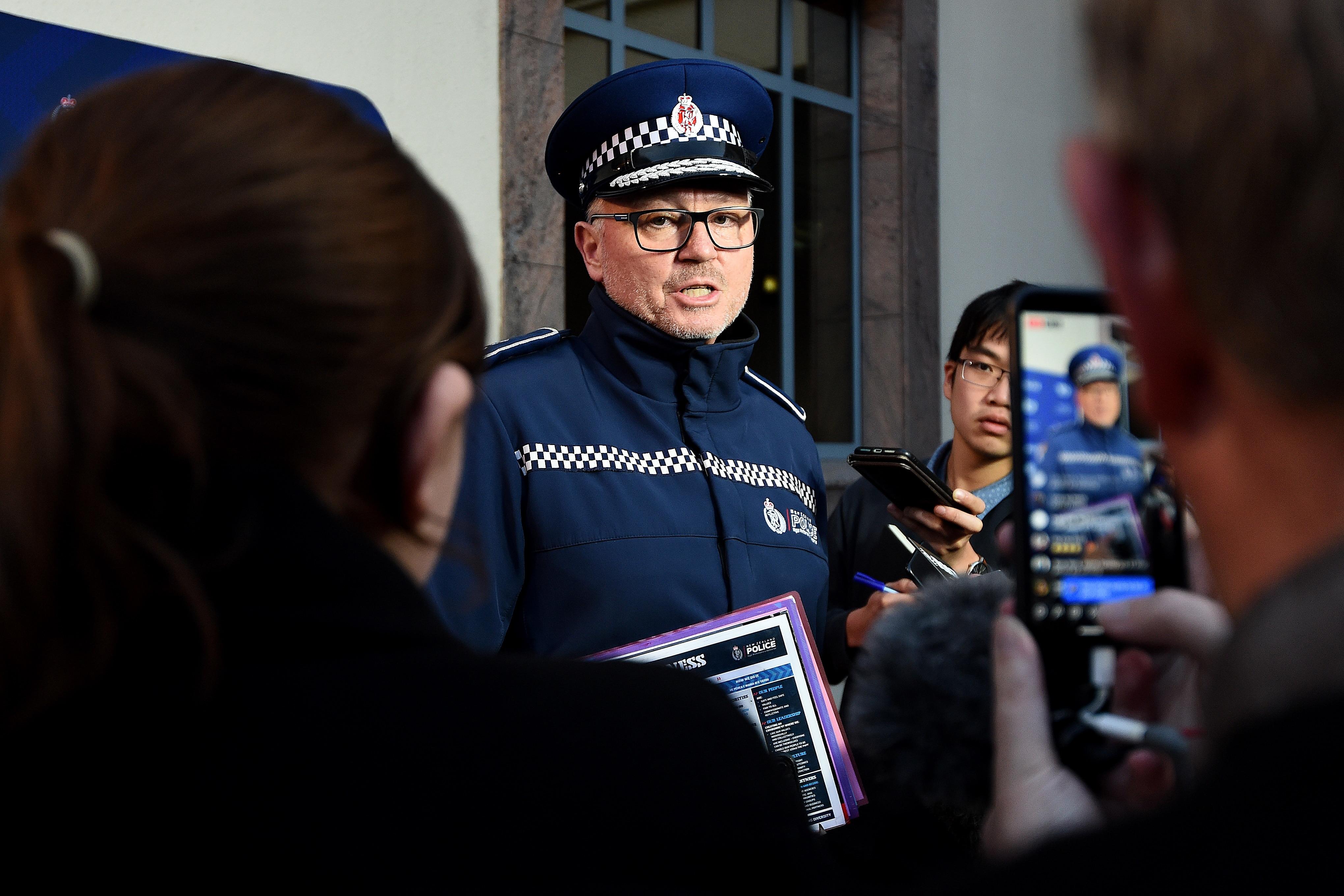 Superintendent Paul Basham speaks to media outside the Dunedin Central Police Station on 10 May, 2021 in Dunedin, New Zealand.