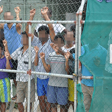 Detainees at Manus Island detention centre.
