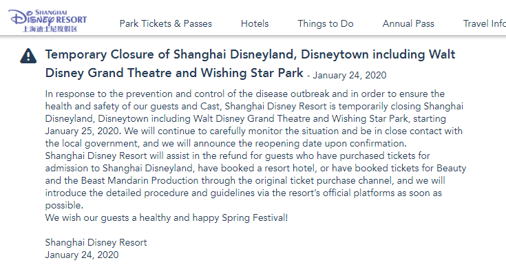 The Shanghai Disney Resorts says tickets will be refunded after the company decided to temporarily close in response to the coro