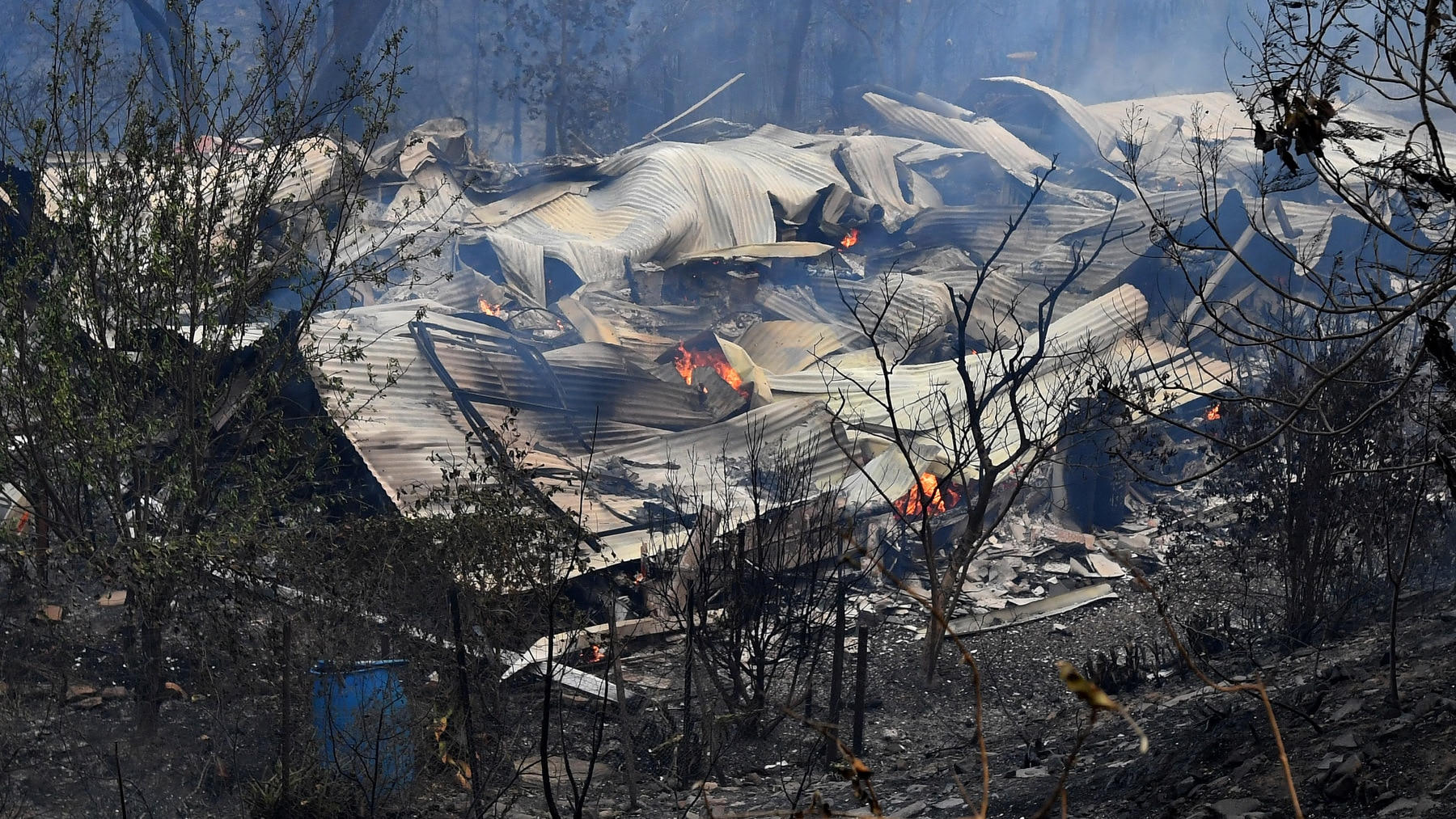 Homes and property destroyed along Exeter Road by the Green Wattle Fire in Buxton, New South Wales.