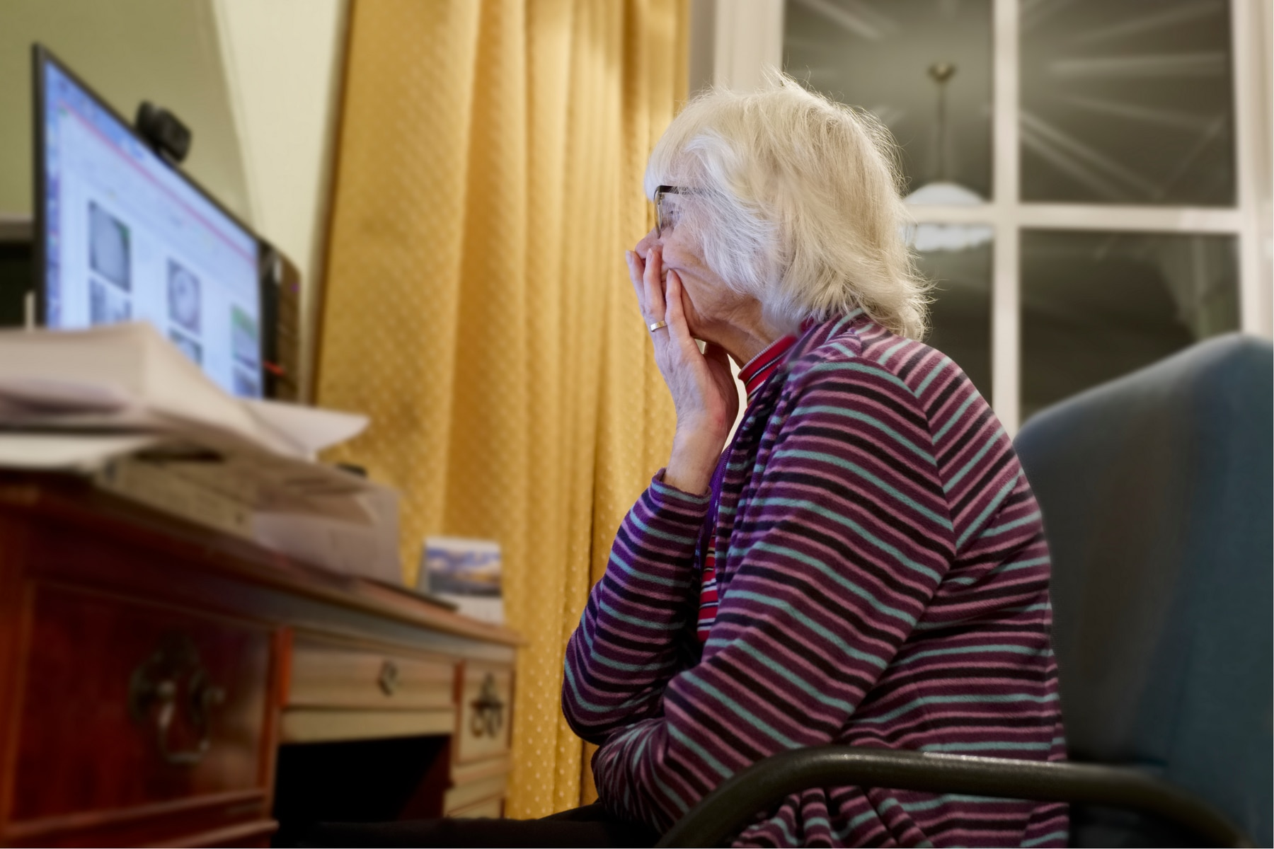 Old elderly senior person learning computer