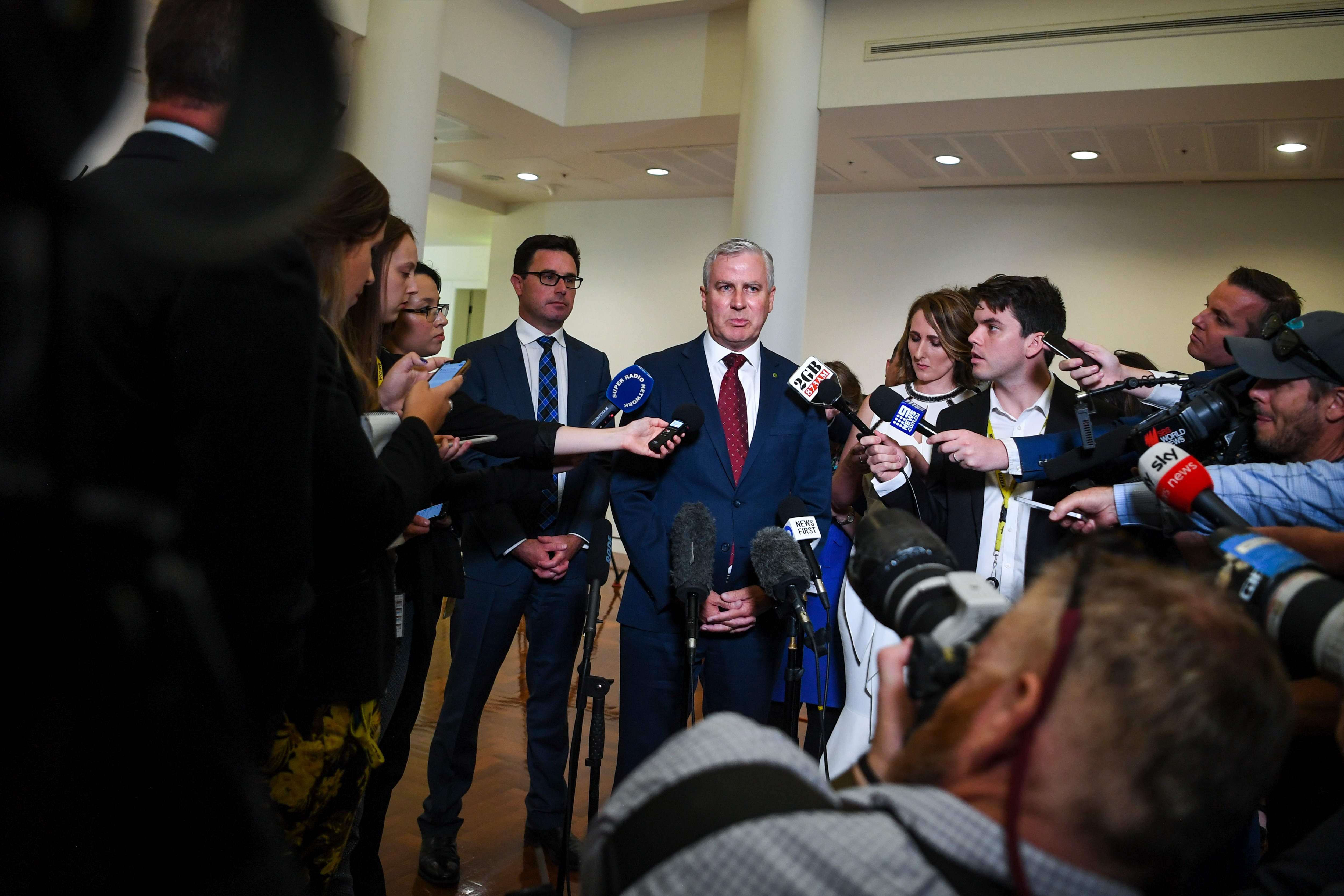 Re-elected Nationals leader Michael McCormack (right) and newly-elected Deputy leader David Littleproud speak during a press conference at Parliament House.