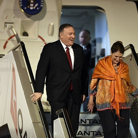 US Secretary of State Mike Pompeo and his wife Susan arrive at Sydney airport.