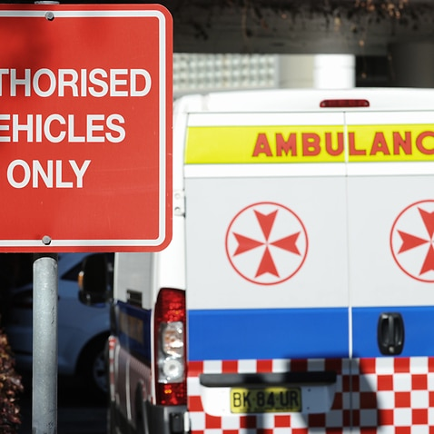Ambulances at St Vincent's Hospital in Darlinghurst, Sydney