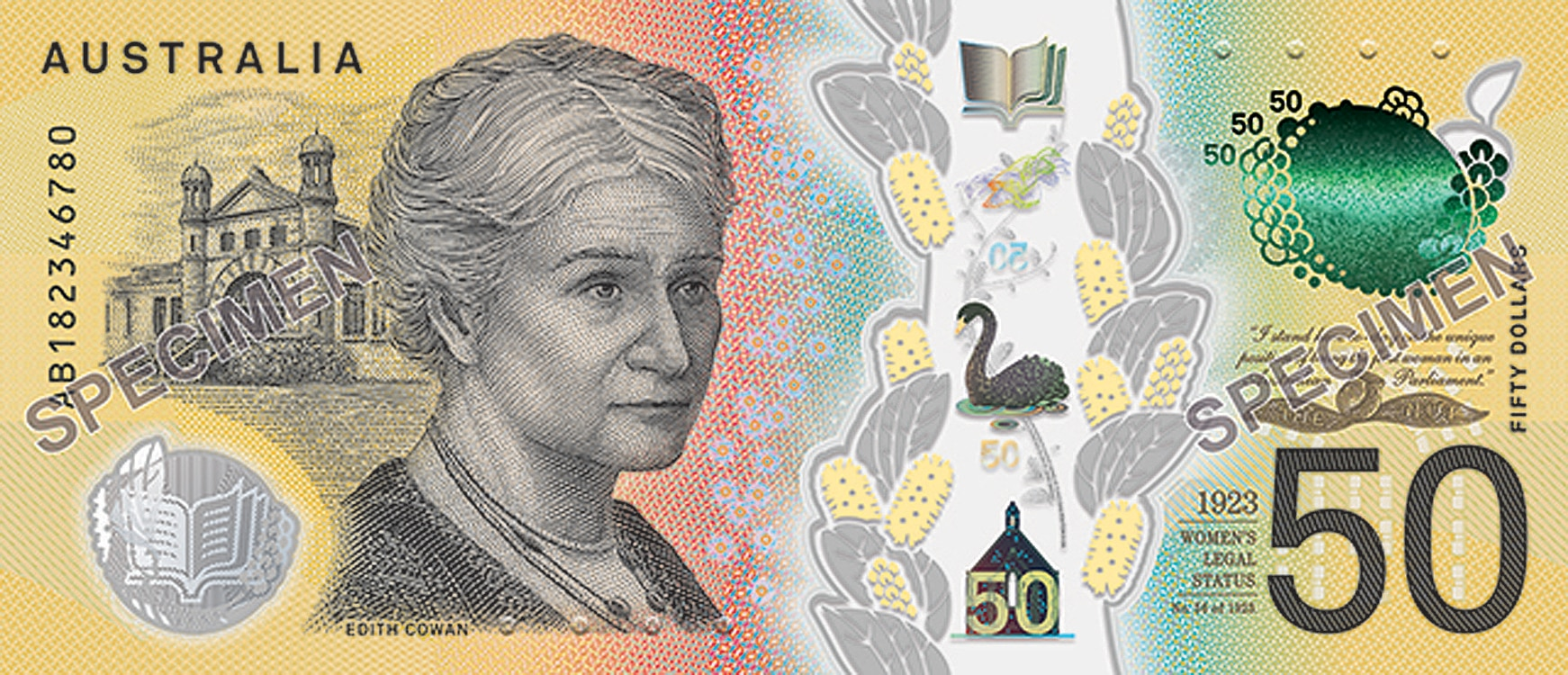 A portrait of Edith Cowan, the first female member of an Australian parliament, on the new $50 bank note.