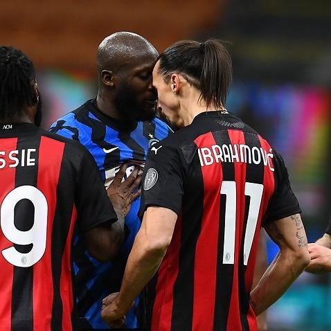 Romelu Lukaku engaged in a heated exchange with Zlatan Ibrahimovic