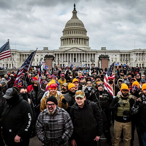 Trump supporters holding a 'Stop The Steal' rally at the US Capitol on 6 January.