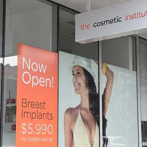 An advertisement at the entrance to The Cosmetic Institute in Sydney.