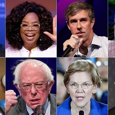 Top left clockwise: Joe Biden, Oprah Winfrey, Beto Rourke, Hillary Clinton, Richard Ojeda, Bernie Sanders, Elizabeth Warren and Corey Booker.