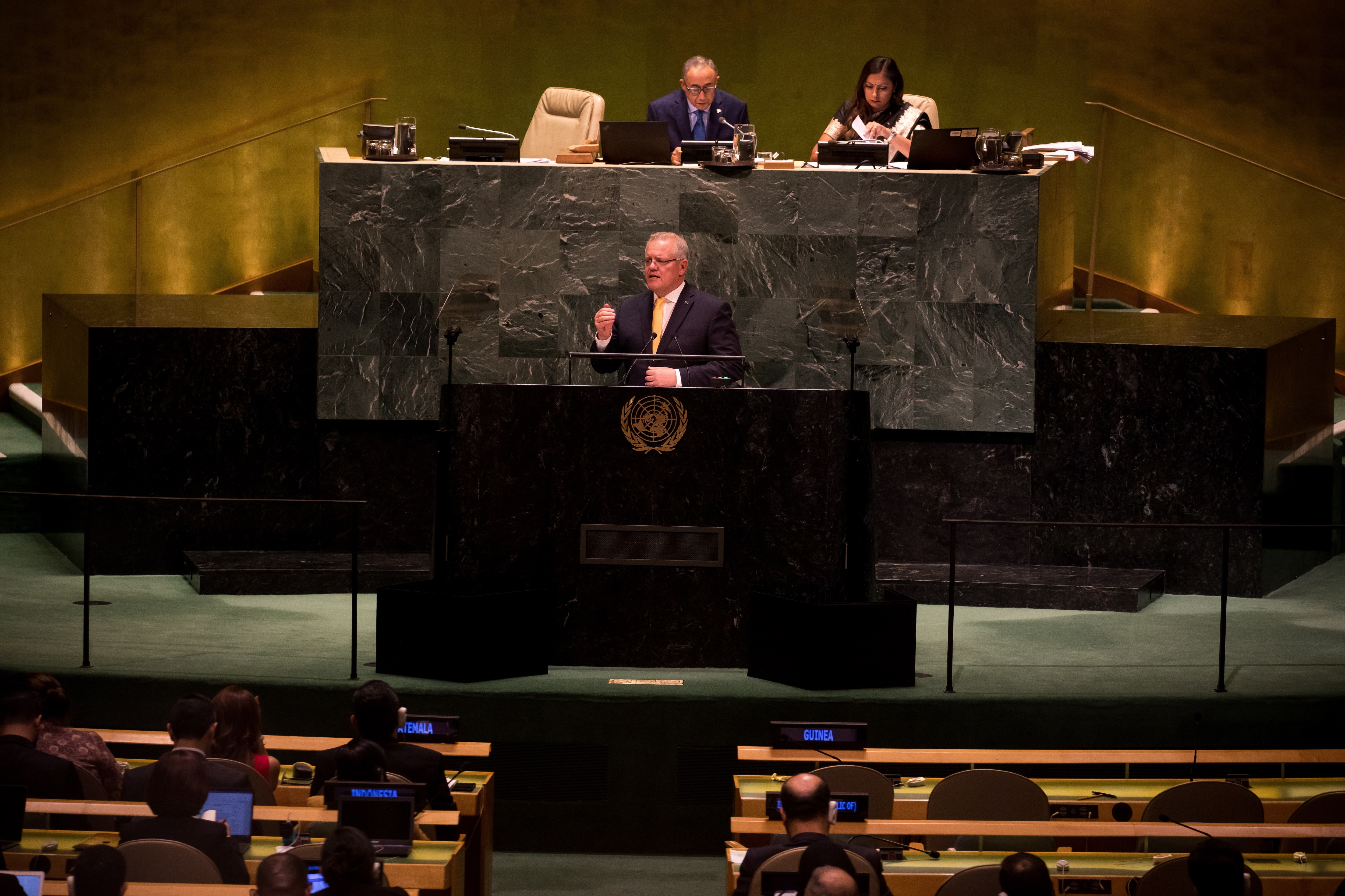 Prime Minister Scott Morrison addressed critics of Australia's action on climate change at the UN General Assembly.