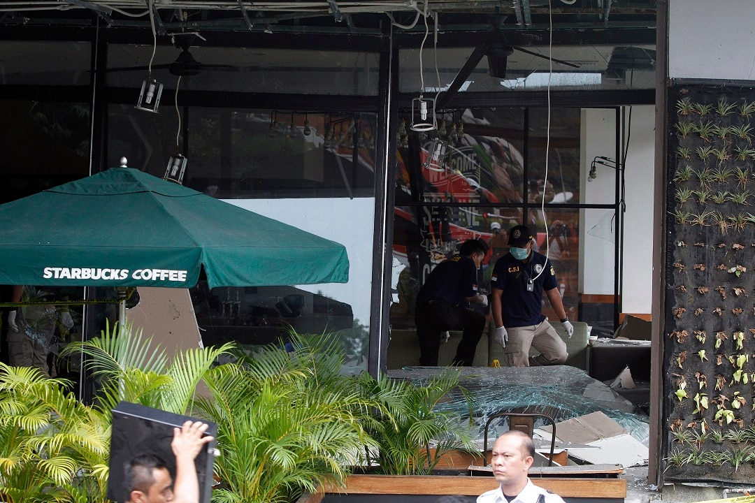 The scene of a bomb blast at Starbucks in Jakarta in January 2016.