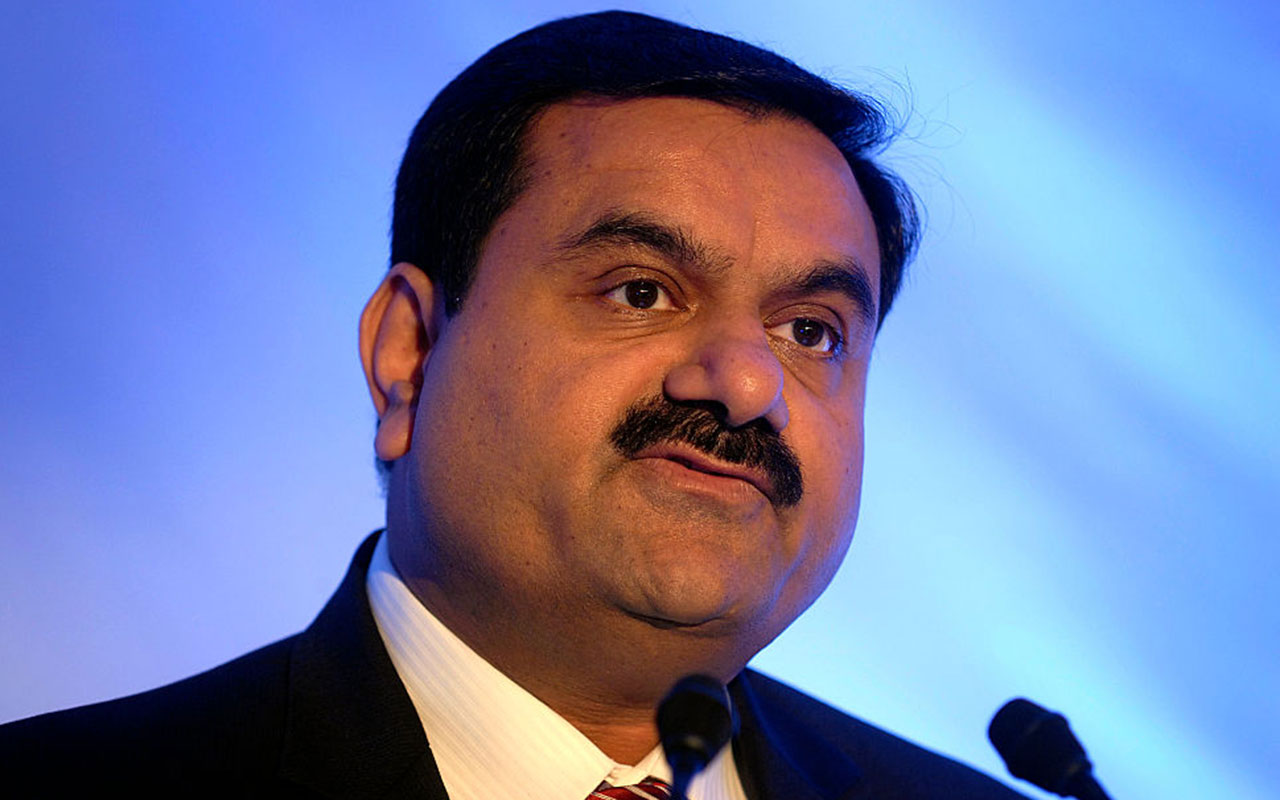 Gautam Adani, Chairman of the Adani Group during a press conference at a press conference in Mumbai.
