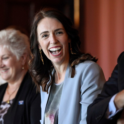 New Zealand Prime Minister Jacinda Ardern, center, smiles during a meeting with Australian Prime Minister Scott Morrison at Admiralty House in Sydney, Friday, Feb. 28, 2020. (Bianca De Marchi/Pool Photo via AP)