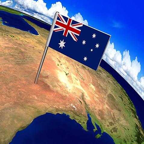 Flag of Australia on world map