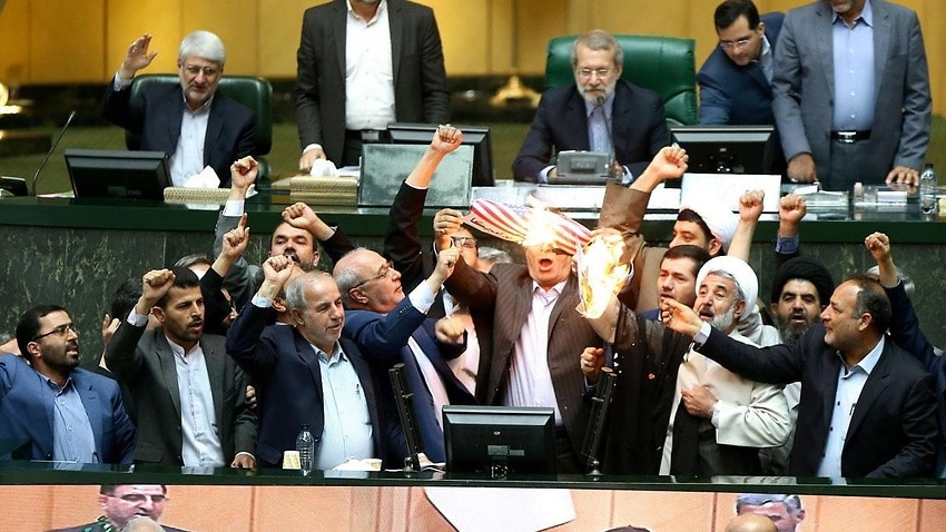 Image for read more article 'Iranian politicians burn US flag, chant 'death to America' after nuclear deal exit'