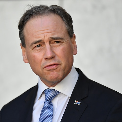 Minister for Health Greg Hunt at a press conference at Parliament House in Canberra.