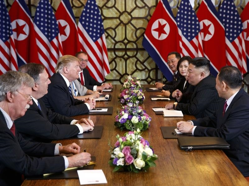 A file image of the US-North Korea leaders summit in Hanoi