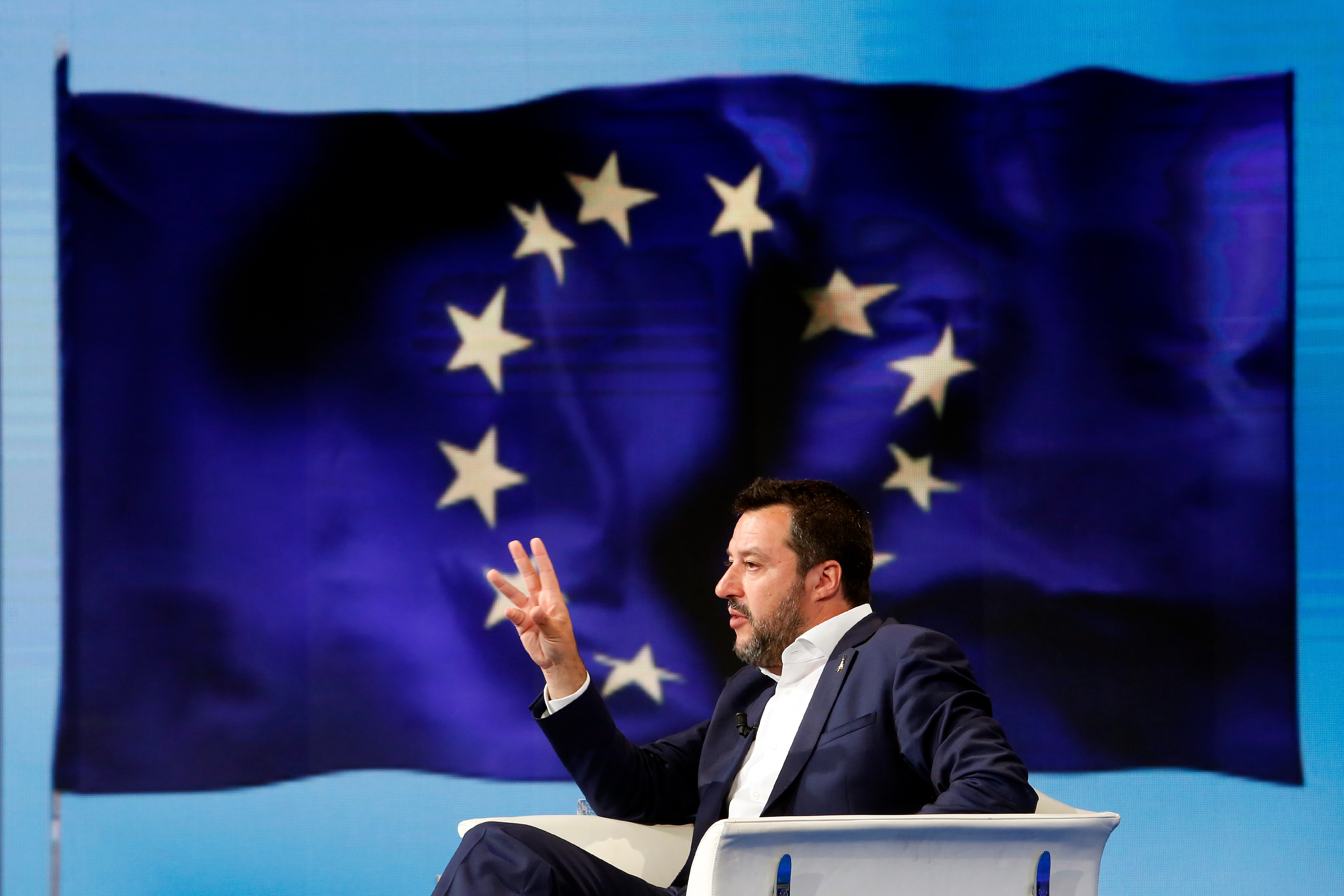 Matteo Salvini and on the video a flag of EURome May 27th 2019. Italian Vice-Premier Matteo Salvini appears as a guest during the talk show Porta a Porta to talk about the European elections.(Photo Samantha Zucchi /Insidefoto/Sipa USA) .