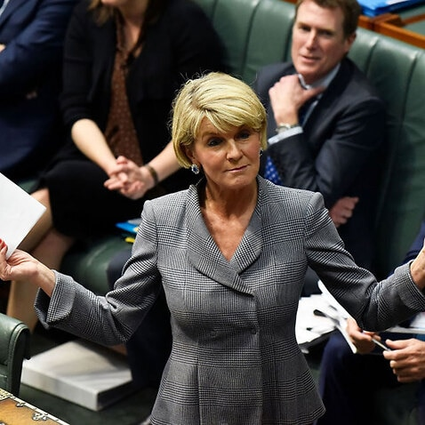Julie Bishop is in the UK for meetings with the new foreign secretary.