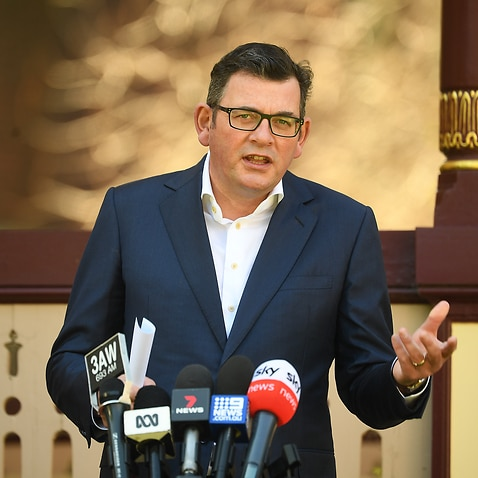 Victorian Premier Daniel Andrews addresses the media during a press conference in Melbourne, Wednesday, September 8, 2021. Victoria has recorded 221 new cases of locally acquired Covid19 in the past 24 hours. (AAP Image/James Ross) NO ARCHIVING