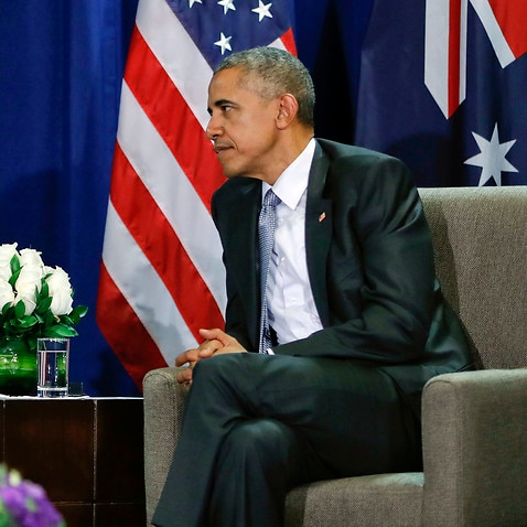U.S. President Barack Obama, right, listens to Australia's Prime Minister Malcolm Turnbull during their meeting at the Asia-Pacific Economic Cooperation (APEC), in Lima, Peru, Sunday, Nov. 20, 2016. (AP Photo/Pablo Martinez Monsivais)