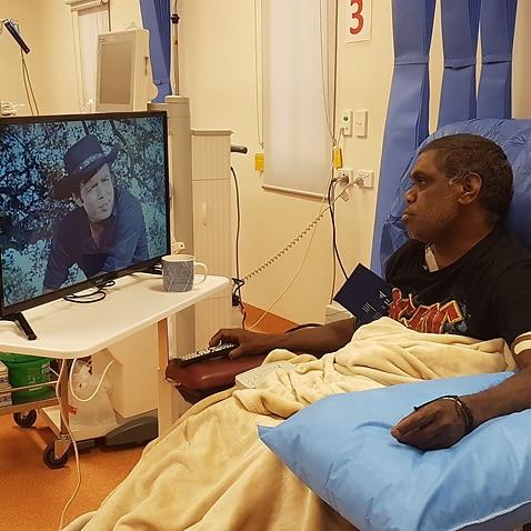 Indigenous dialysis patient Dirk Jackson, watching his favourite show, 'Bonanza'