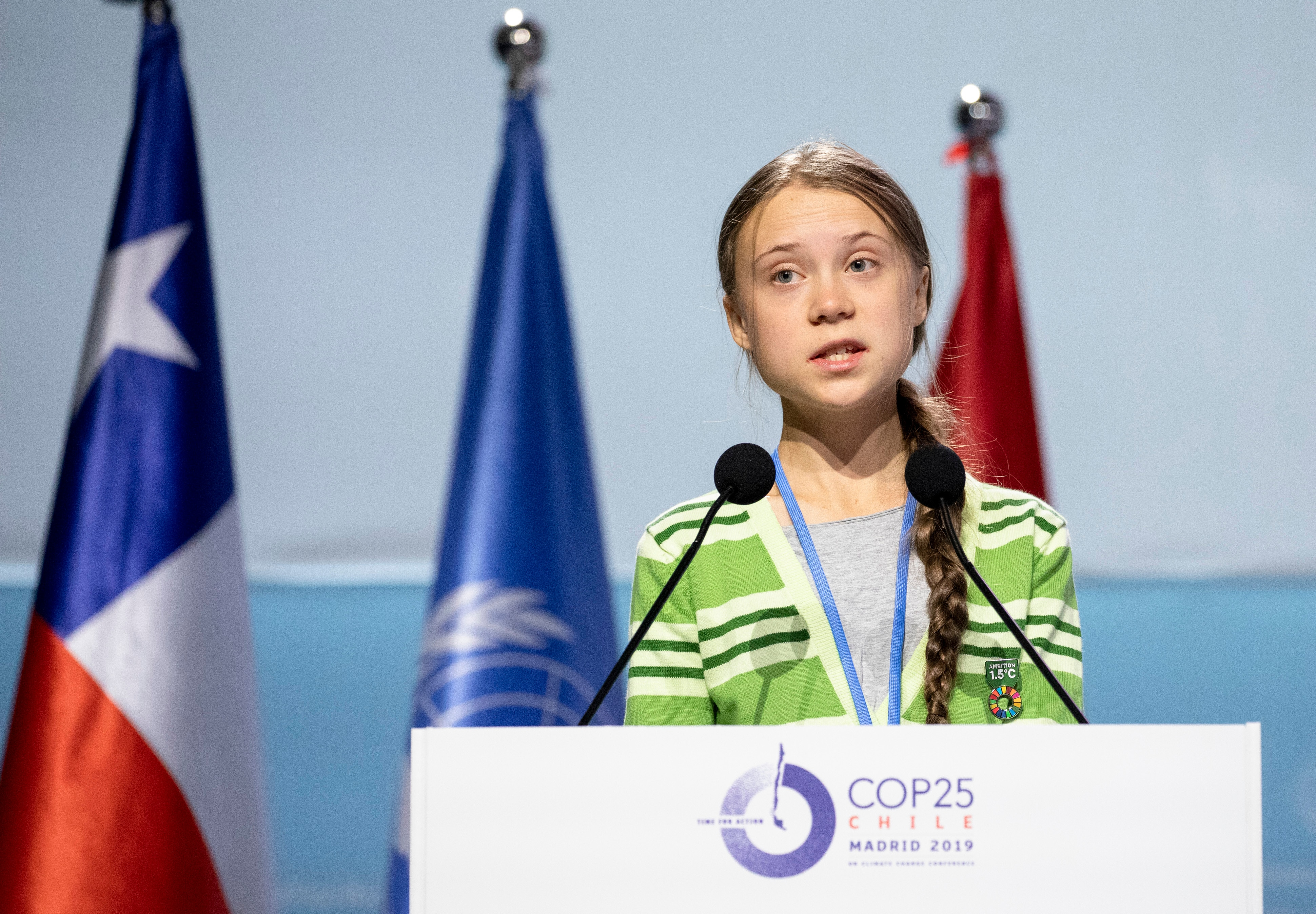 Swedish environment activist Greta Thunberg delivers a speech at the plenary session during the COP25 Climate Conference.