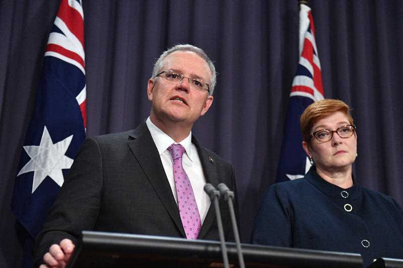 Prime Minister Scott Morrison speaks to the media about the embassy move, alongside Minister for Foreign Affairs Marise Payne.