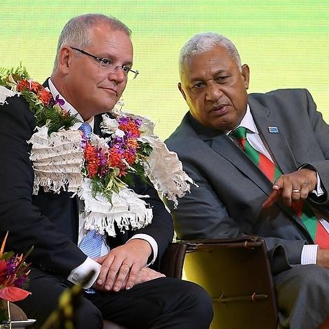 Australian Prime Minister Scott Morrison with the Prime Minister of Fiji Frank Bainimarama.