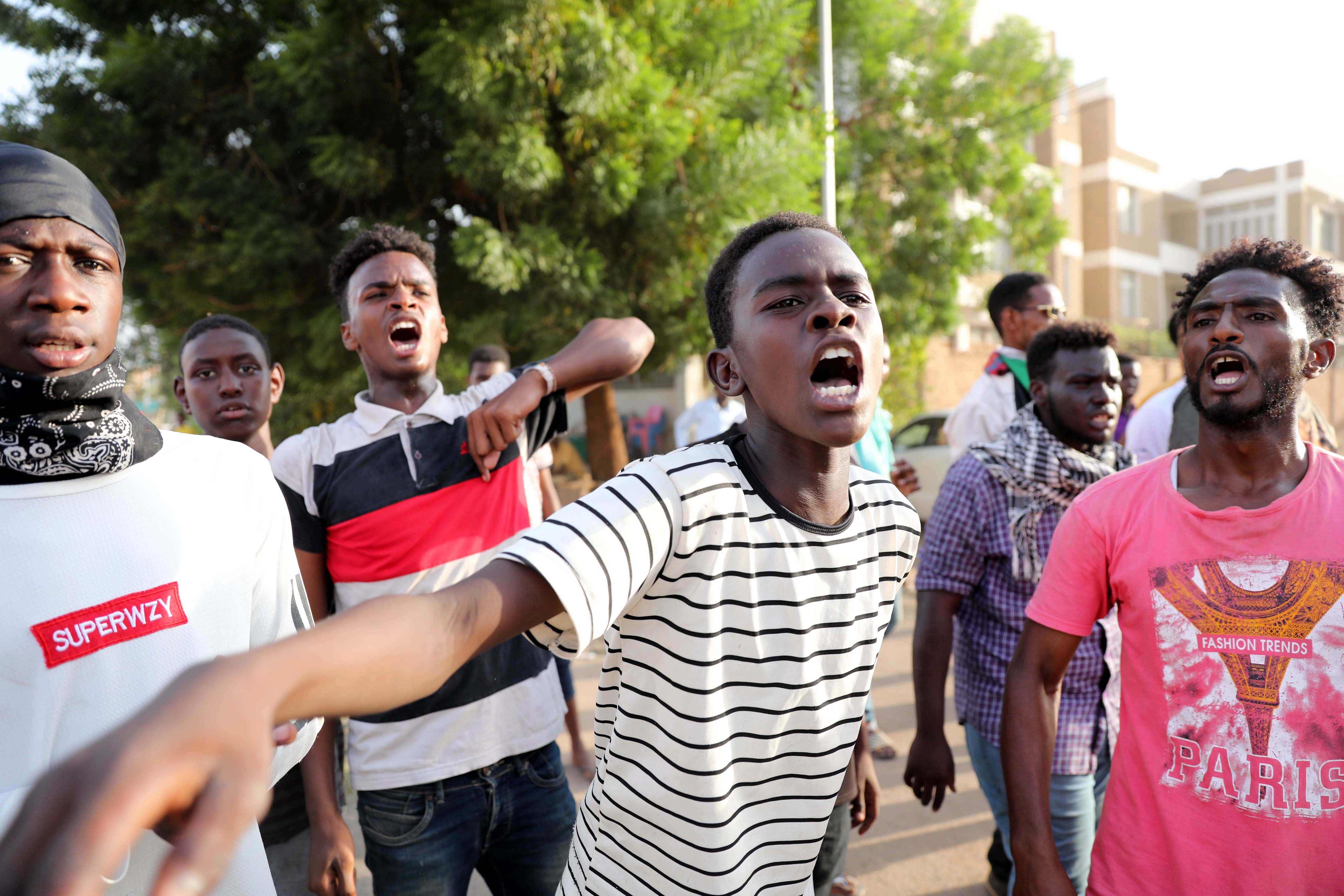 Sudanese students protest against the killing of five people in al-Obeid.