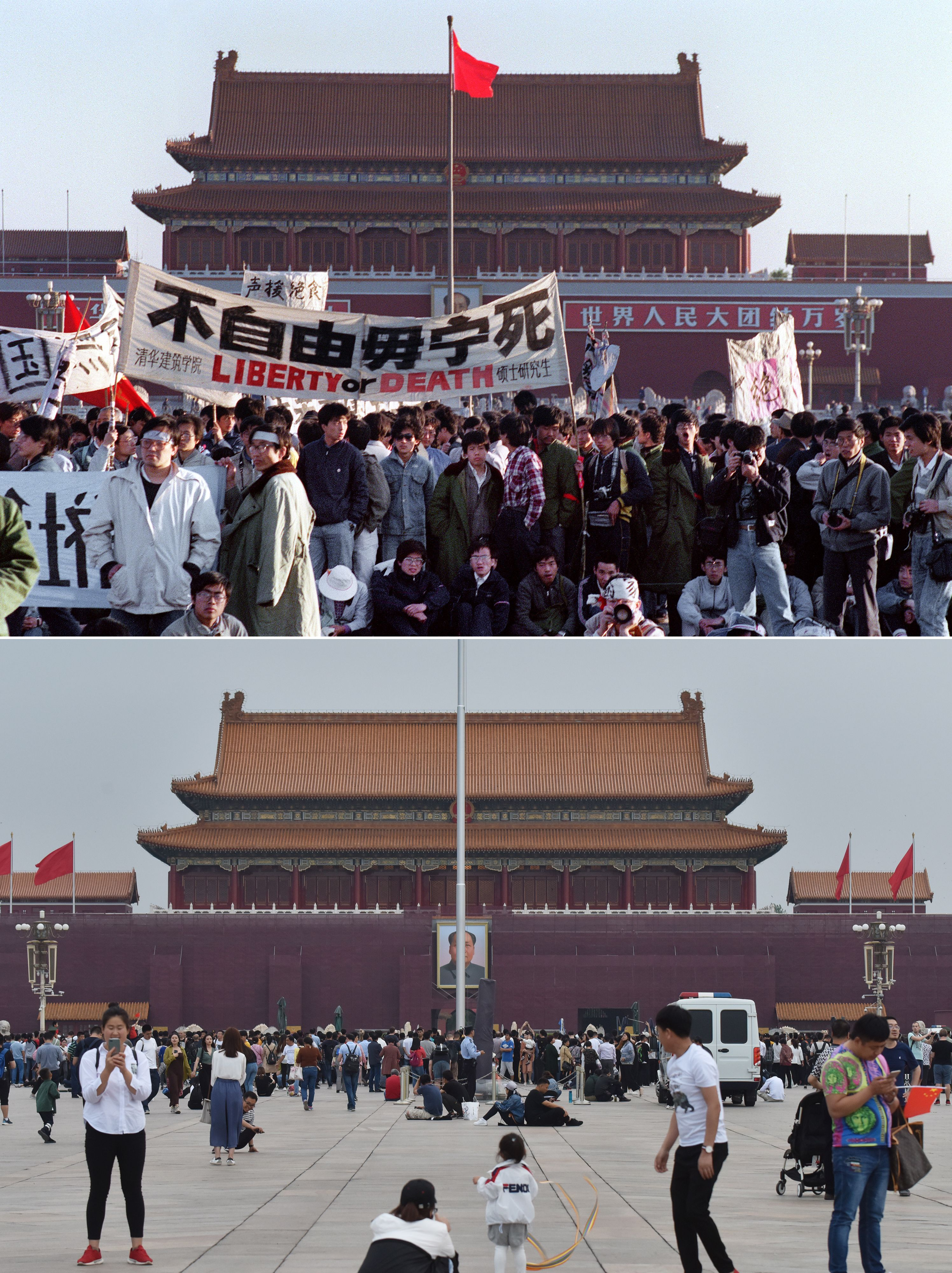 Thirty years on: Students in Tiananmen Square on 14 May 1989 and in May 2019.