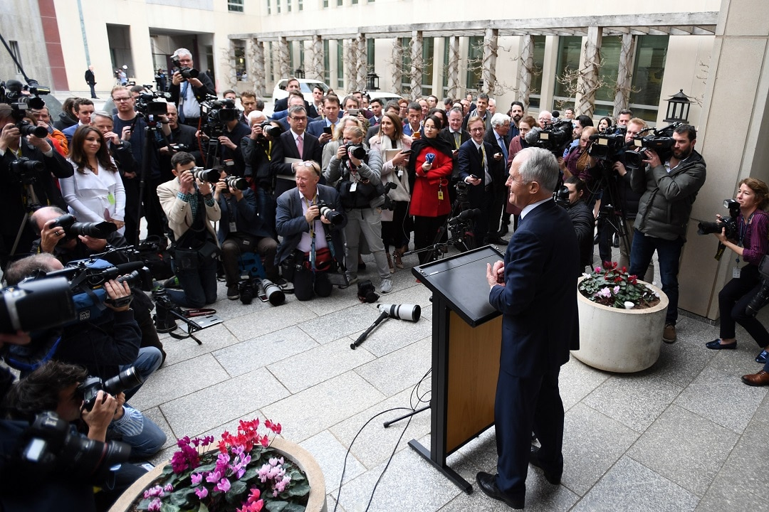 Australian Prime Minister Malcolm Turnbull addresses the media in the Prime Ministers Courtyard at Parliament House in Canberra, Thursday, August 23, 2018. (AAP Image/Sam Mooy) NO ARCHIVING