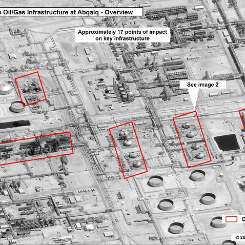 This image provided on Sunday, Sept. 15, 2019, by the U.S. government and DigitalGlobe and annotated by the source, shows damage to the infrastructure at Saudi Aramco's Abaqaiq oil processing facility in Buqyaq, Saudi Arabia. The drone attack Saturday on