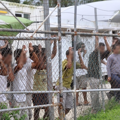 File image of detainees at the Manus centre