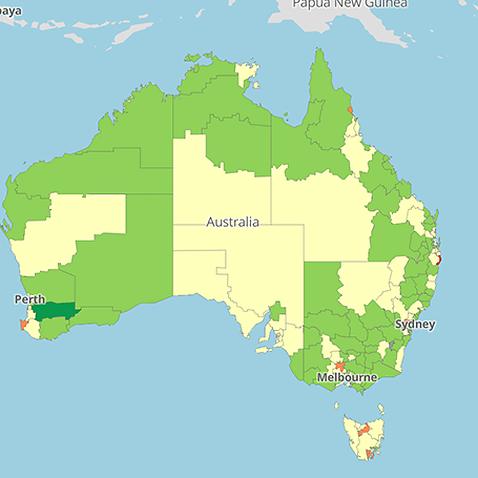 Australia, immunisation rates, map