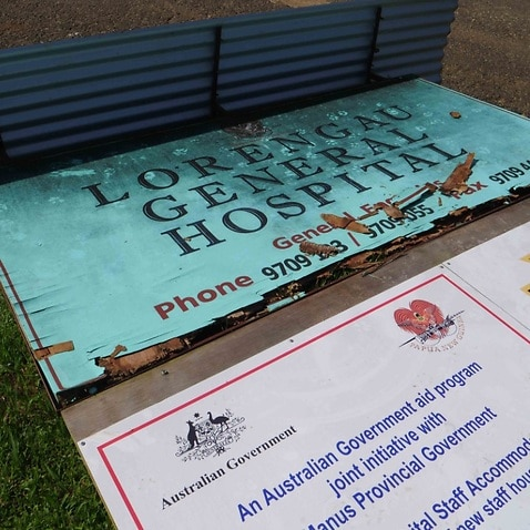 Supplied image obtained Thursday, May 17, 2018 of signage outside the Lorengau Hospital on Manus Island
