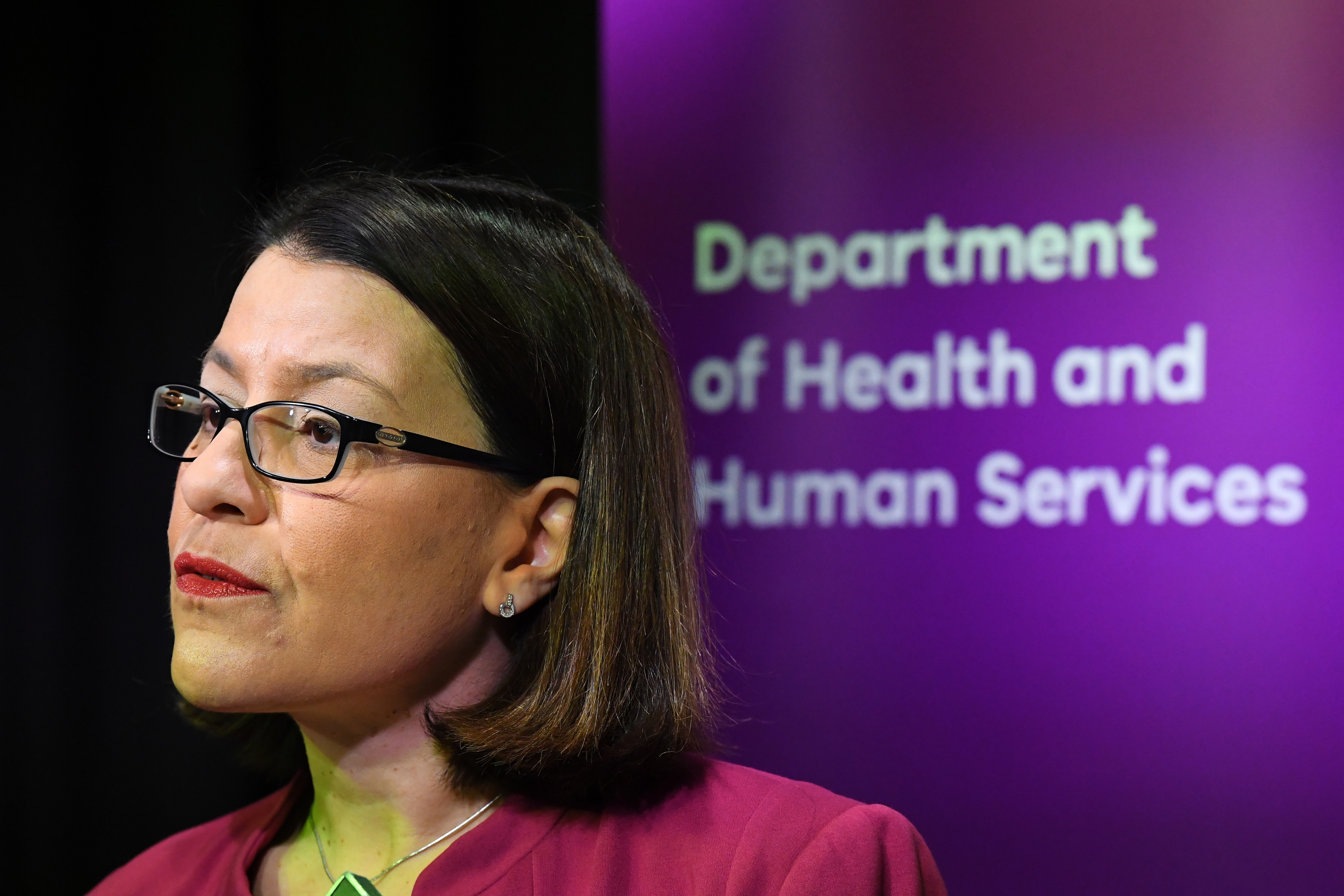 Victorian Health Minister Jenny Mikakos speaks to media during a press conference, Monday, March 2, 2020.