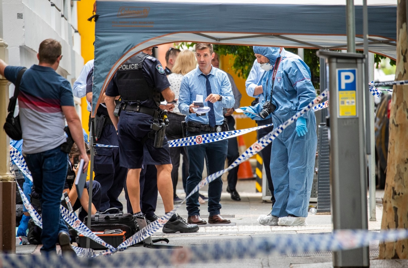 The forensic scene where police shot and killed a man outside the Westin Hotel on Mary Street in central Brisbane