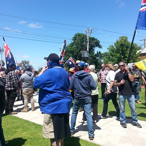Protesters at the Melbourne reclaim Australia rally and counter rally.