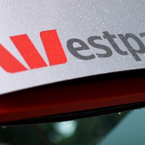 A close up of a Westpac logo at a branch in Canberra.