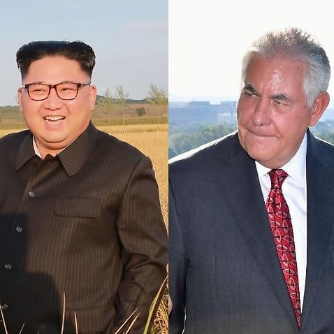 File images of North Korean leader Kim Jong-un and Rex Tillerson