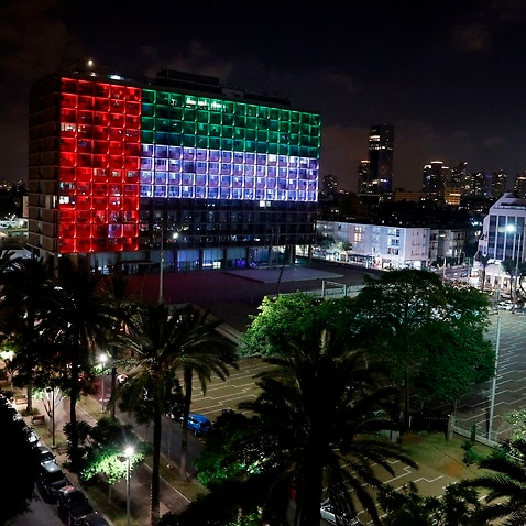 City hall in Tel Aviv, Israel, is lit up in the colours of the United Arab Emirates national flag