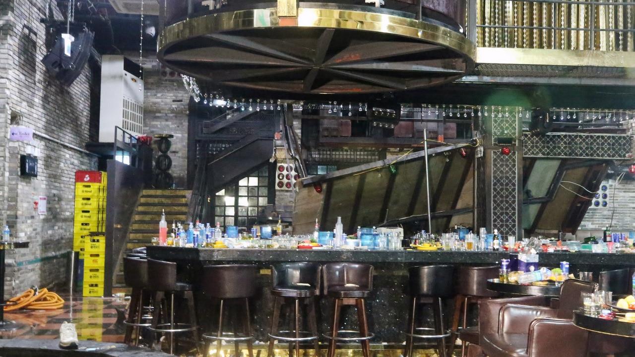 A general view of damage inside of the Coyote Ugly nightclub in Gwangju, South Korea.