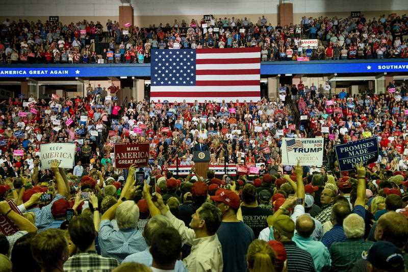 US President Donald J. Trump addresses supporters at a Make America Great Again rally at the Landers Center in Southaven Mississippi USA 02 October 2018