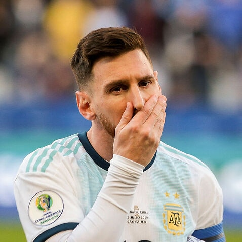 Lionel Messi reacts during an Argentina match