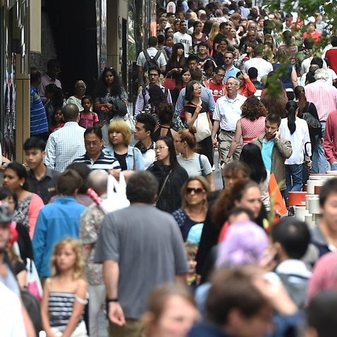 File image: Huge crowds fill Pitt Street Mall and the CBD shopping district.