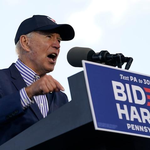 Democratic presidential candidate former Vice President Joe Biden speaks at a campaign event at Dallas High School, Pennsylvania, Saturday, 24 October, 2020.