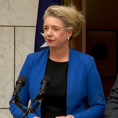 Minister for Agriculture Bridget McKenzie and PM Scott Morrison speak at a press conference at Parliament House