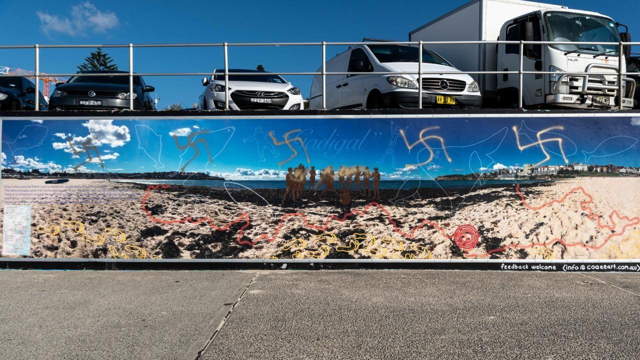Swastikas painted on a mural in Bondi Beach, Sydney.